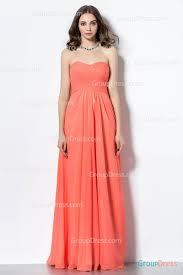 orange classical strapless sweetheart crisscross long chiffon