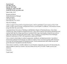nursing cover letter samples new graduate registered nurse cover