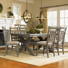 powell turino 7 piece rectangle dining room set in grey oak