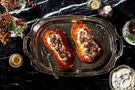 butternut squash recipe for thanksgiving twice baked butternut squash with parmesan cream and candied bacon