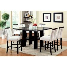 glass counter height table sets furniture of america luminate contemporary 9 piece illuminating