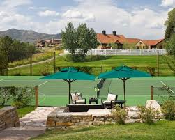 Backyard Tennis Court Cost Backyard With Tennis Court Houzz