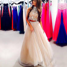 a line crystal prom dress 2017 high neck sleeveless backless floor