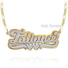 double name necklace images Nameplate necklace double plate handmade jpg