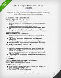 exle resume for data analyst resume sle resume genius