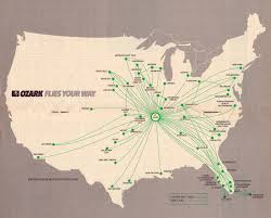 Allegiant Air Route Map by Ozark Airlines Route Map In Plane Site Pinterest Springfield