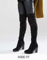 womens size 9 wide fit boots look wide fit metal piping the knee boots black