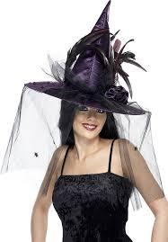 amazon com smiffy u0027s women u0027s witch hat with feathers and netting