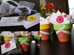 Flower Pot Wedding Favors - garden theme favors painted terracotta pots with flower seeds