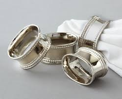 napkin ring oval silver plated beaded of 48 event