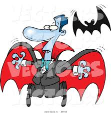 vector of a scared halloween cartoon vampire flying away from a