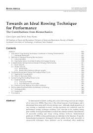 towards an ideal rowing technique for performance the