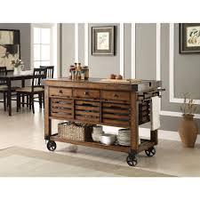 Furniture With Storage Acme Furniture Kaif Distressed Chestnut Kitchen Cart With Storage