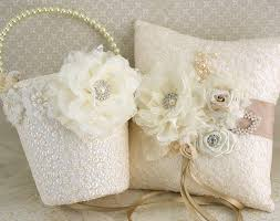 wedding pillow rings flower girl basket wedding ring pillow ivory chagne