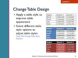 Change Table Style Word Business Documents With Word Ppt