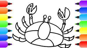 crab coloring pages how to draw crab learn colors with crab