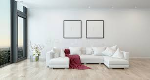 living room white couch red throw on white sofa in modern living room stock illustration