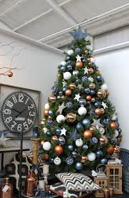 blue white and copper christmas tree design decorated christmas