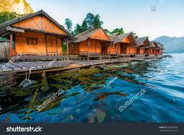 floating houses floating houses fish cheow lan dam stock photo 353780309