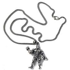 metal necklace men images Dumbbell pendant necklace men stainless steel jpg