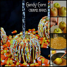 candy apples for halloween candy corn caramel apples