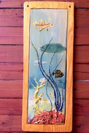 17 best ocean arts whale chainsaw carvings images on pinterest sea turtle and tropical fish painting x art on reclaimed pine wood flooring beach home decor colorful coral reef wall hanging by on etsy