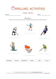 esl english spelling worksheet with sports