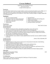 Substitute Teacher Resume Samples by French Immersion Teacher Resume Sample Ecordura Com
