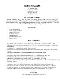 Resume Job Description by Professional Walgreens Service Clerk Resume Templates To Showcase