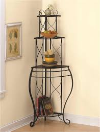 Contemporary Bakers Rack Furniture Contemporary Black Iron Corner Bakers Rack For Your