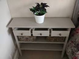 table with drawers and shelves h90 w100 d20cm bespoke la french grey console table 3 drawer 2