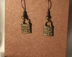 lock earrings lock earrings etsy