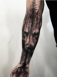 amazing wolf and tree tattoos for tattoos wolf