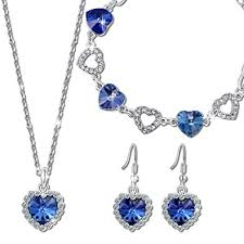crystal necklace swarovski images Qianse heart of ocean sapphire jewelry set swarovski jpg