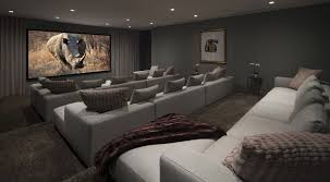 Theatre Home Decor Living Room Grey Fabric Seats Connected By Large Lcd Tv On Grey