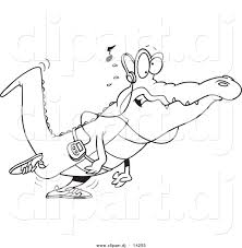 vector of cartoon gator walking and listening to music coloring