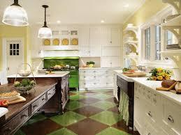 Kitchen Countertop Shelf Appliances Green Painted Wooden Floor With Retro Electric Range