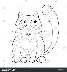 cartoon smiling gentle kitty stripes sit stock vector 343455782