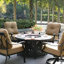 Fire Patio Table by Round Patio Table With Umbrella Hole Circle Outdoor Furniture