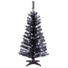 national tree co 4 foot black tinsel pre lit tree