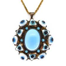 blue glass pendant necklace images Antique victorian evil eye blue white glass panel pendant jpg