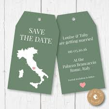 luggage tag save the date italy map wedding luggage tags save the date any country
