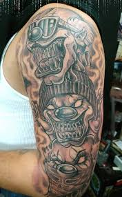 realistic chicano tattoo on man right half sleeve