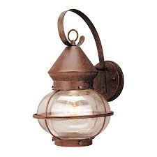 outdoor rustic lighting shop portfolio 14 3 4 in rustic bronze outdoor wall light at lowes com