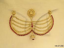 bridal dulhan wear jhumki bor hair accessories manek ratna