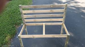 Easy Wood Bench Plans by Wooden Slat Bench Plans Rustic Bench With Back My Repurposed Life