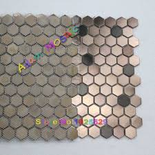 hexagon mosaie tile copper tiles backsplash metal mosaic kitchen
