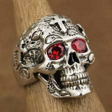 gothic rings silver images 925 sterling silver red cz eyes skull cross rings mens biker jpg