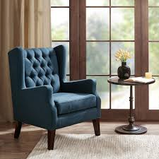 amazon com button tufted wing chair maxwell navy kitchen u0026 dining