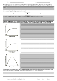 photosynthesis limiting factors graphs worksheet by petejago